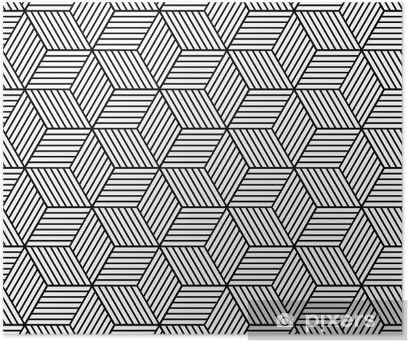 Poster Naadloze geometrische patroon met blokjes. - Grafische Bronnen