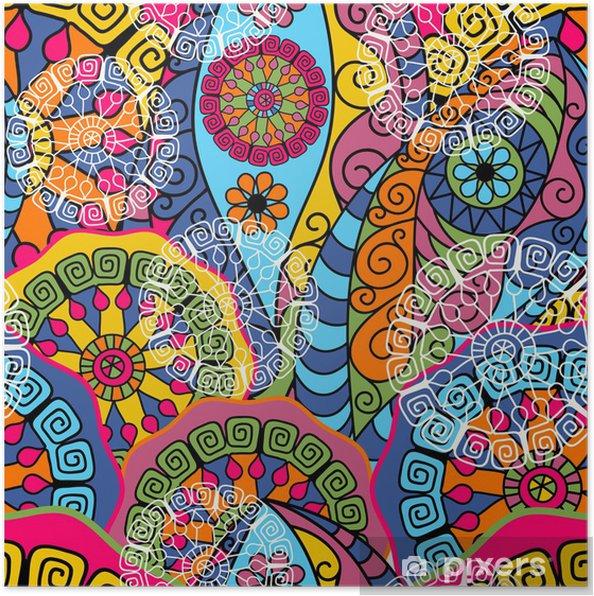 Poster Naadloze kleurrijke patroon - Achtergrond