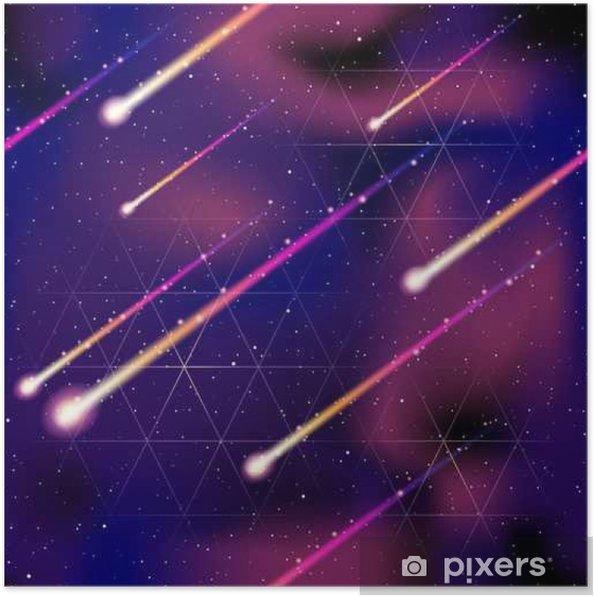 Poster Naadloze meteorenregen achtergrond - Wetenschap