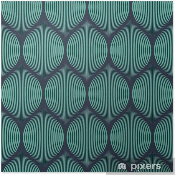 Poster Naadloze neon blauwe optische illusie geweven patroon vector -