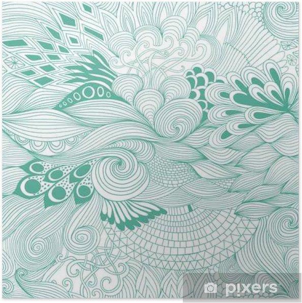Poster Naadloze patroon achtergrond met kleurrijke versiering. De hand trekt illustratie, kleurboek zentangle - Bloemen en Planten