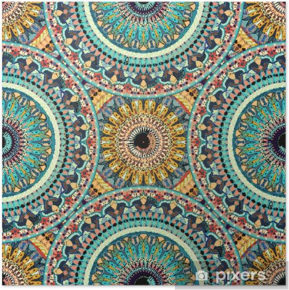 Poster Naadloze patroon mandala sieraad. vintage decoratieve elementen. hand getrokken oosterse achtergrond. - Grafische Bronnen