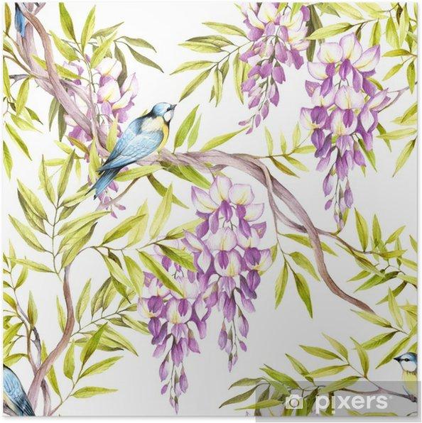 Poster Naadloze patroon met blauweregen. hand tekenen aquarel illustratie - Bloemen en Planten