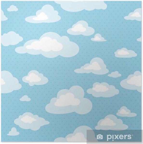 Poster Naadloze patroon met wolken - Grafische Bronnen