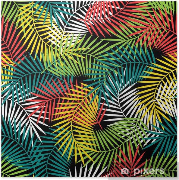 Poster Naadloze tropische patroon met gestileerde kokospalm bladeren. - Stijlen