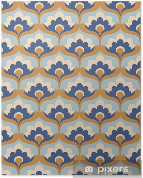 Poster Naadloze vintage bloemmotief - Grafische Bronnen
