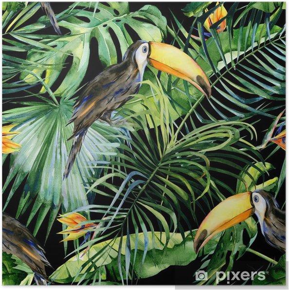 Poster Naadloze waterverfillustratie van toekanvogel. Ramphastos. tropische bladeren, dichte jungle. strelitzia reginae bloem. hand geschilderd. patroon met tropisch zomermotief. kokosnoot palmbladeren. - Dieren