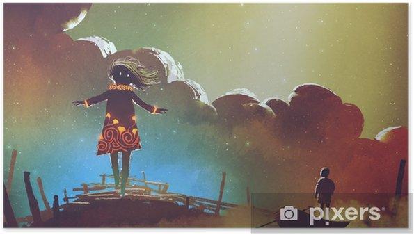 Poster Nachtscène van de jongen op een boot die de heks tegen kleurrijke hemel, digitale kunststijl, illustratie het schilderen bekijken - Wetenschap