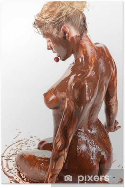 между молодыми голая блондинка в шоколаде удовольствия, нежно