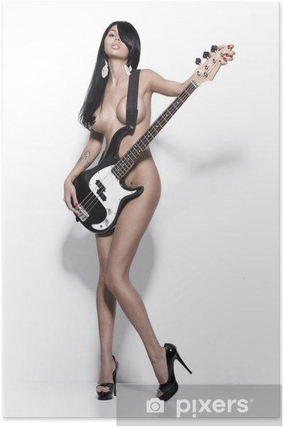 Poster Naken flicka med en gitarr - Teman