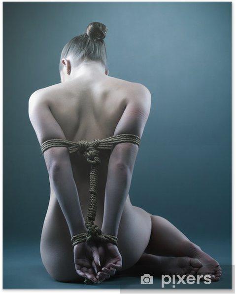Poster Naken kvinna med shibari i studio - Teman