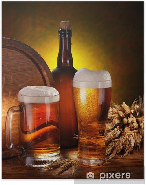 Poster Nature morte avec un fût de bière - Alcool