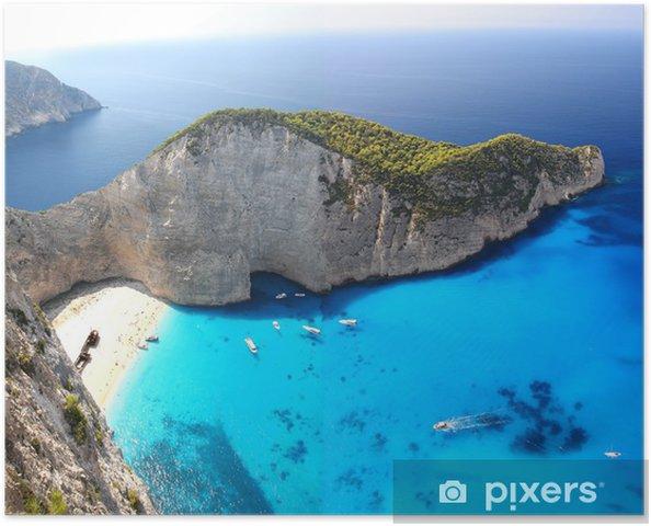 Poster Navagio Beach avec naufrage à Zakynthos, Grèce - Thèmes