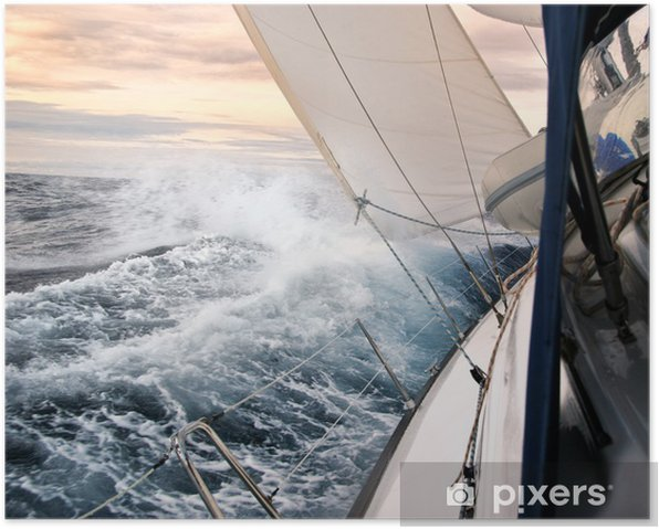 Póster Navegando en la luz del atardecer - Temas