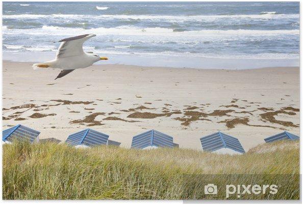 Poster Nederlandse huisjes op het strand met zeemeeuw - Privé Gebouwen