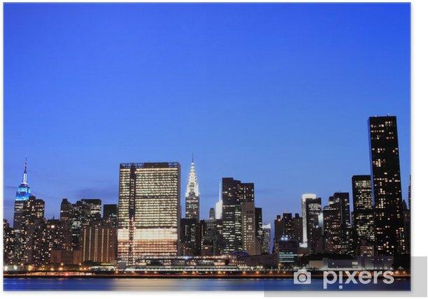 Poster New York à Night Lights, Midtown Manhattan - Villes américaines