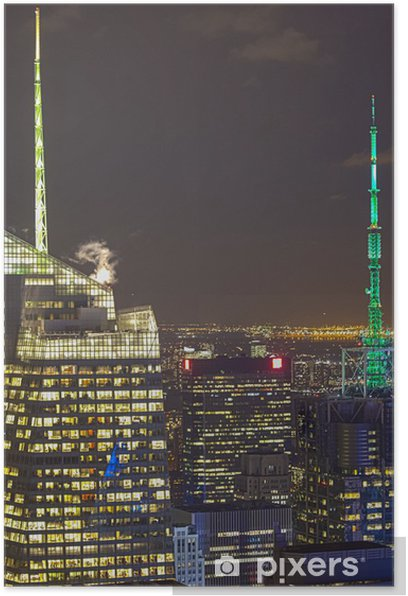 New York City Aerial View at Night With Skyscraper Buildings Sky Poster - Other