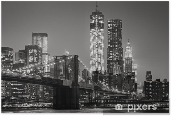 Poster New York City in de nacht -