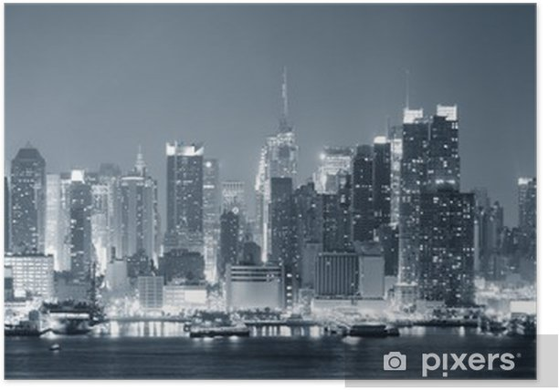Poster New York City Manhattan en noir et blanc - Thèmes