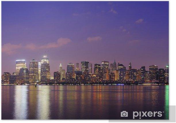 Póster New York City Manhattan panorama anochecer - América