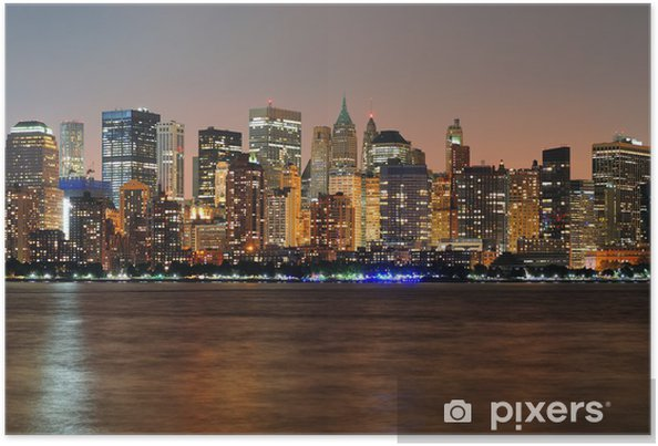 Póster New York City Manhattan panorama anochecer - Temas