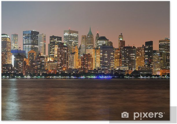 Poster New York City Manhattan panorama au crépuscule - Thèmes