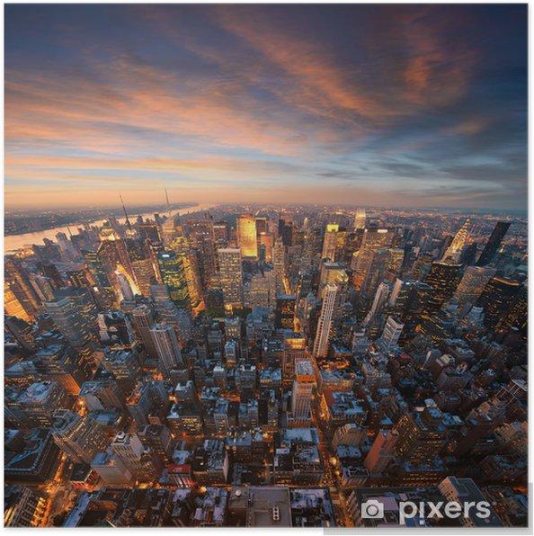 Poster New York City skyline bij zonsondergang - Stijlen