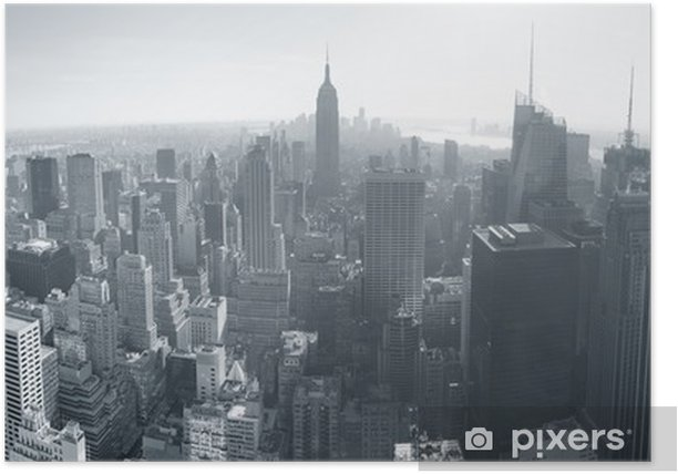 New York City skyline black and white Poster - Themes