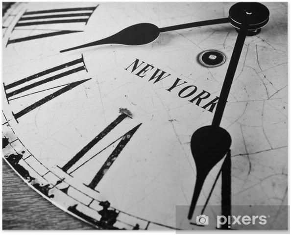Poster New York klok zwart en wit - Klokken