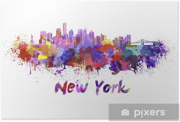 Poster New York skyline in aquarel - Thema's
