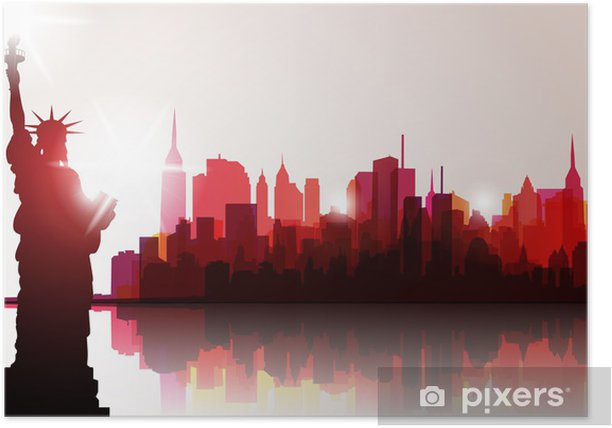 New York Skyline Vector Illustration Poster Pixers We Live To