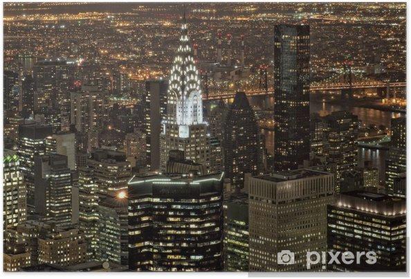 Poster New York, vue de nuit panorama paysage urbain - Paysages urbains