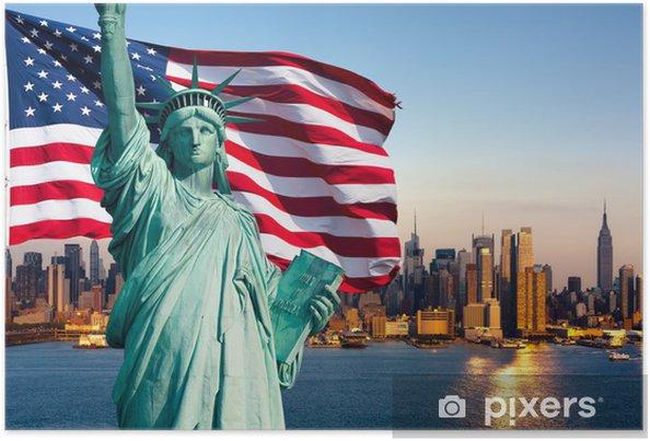 Poster New Yorks skyline, staty de la liberté - Amerikanska städer
