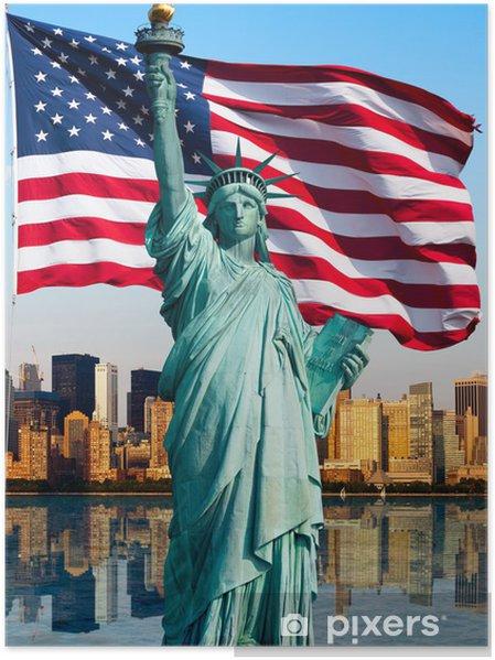 Poster New Yorks skyline, staty de la liberté - Teman