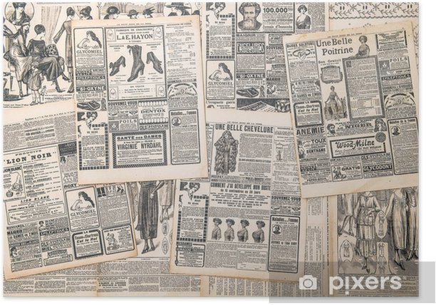 newspaper pages with antique advertisement Poster - Textures