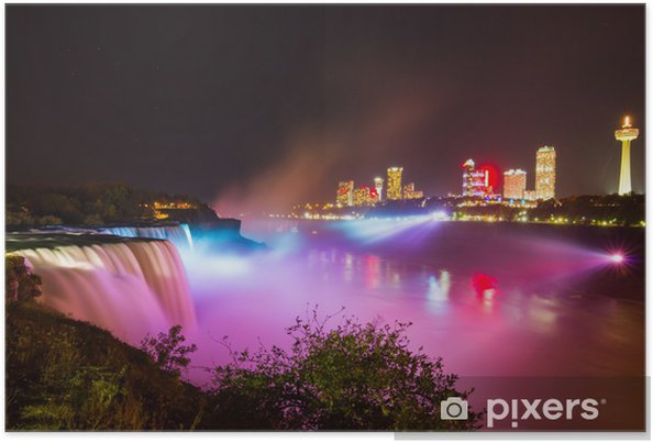 Poster Niagara Falls lichtshow 's nachts - Amerika