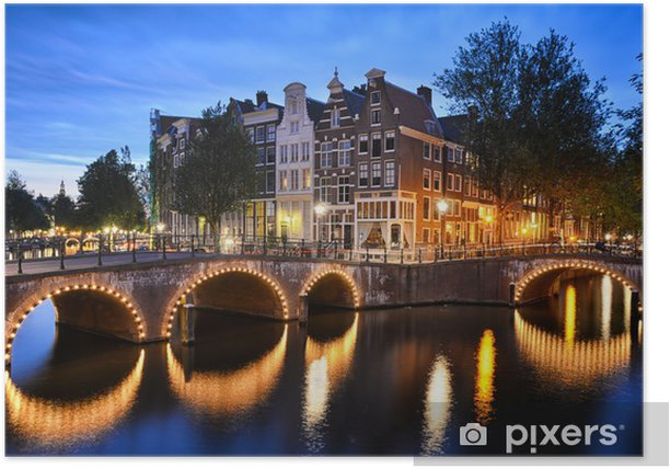Night scene at a canal in Amsterdam Poster - European Cities