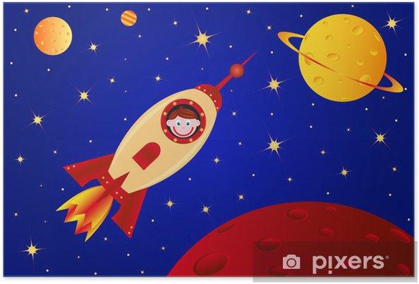 Póster Niño astronauta en el cohete en el universo -