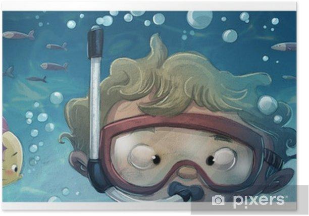 Poster Niño buceando en el mar - Personnes
