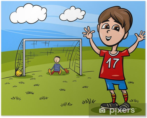 Poster Nino Jugando Futbol De Dibujos Animados Pixers Vivimos