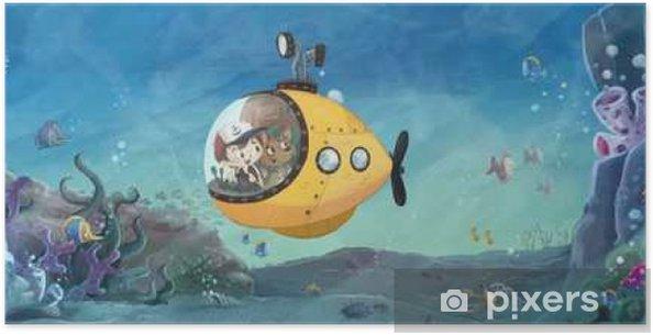 Póster Niño y perro en submarino en el mar - Gente