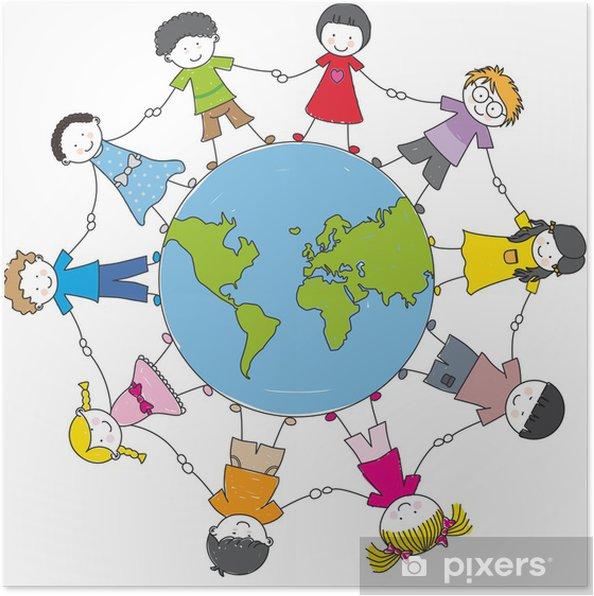Póster Niños de todas las etnias alrededor del mapa mundial - Vinilo para pared