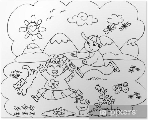 Póster Niños Para Colorear Jugando En El Campo