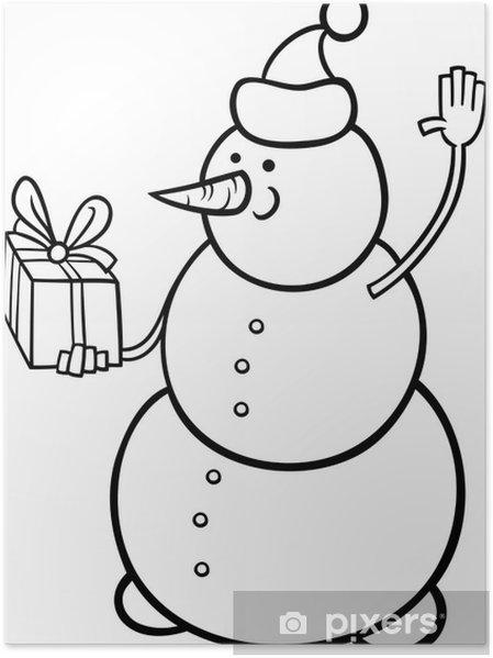 Poster Noël Coloriage Bonhomme De Neige Pixers Nous Vivons Pour
