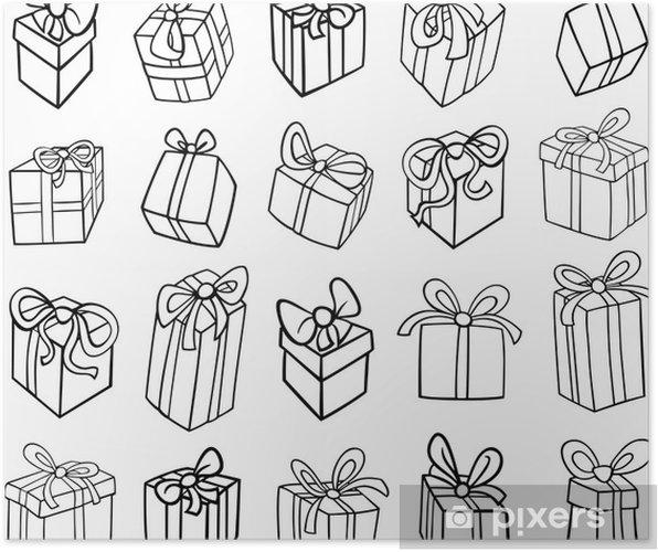Coloriage Anniversaire Noel.Poster Noel Ou Des Cadeaux D Anniversaire Coloriage Pixers Nous
