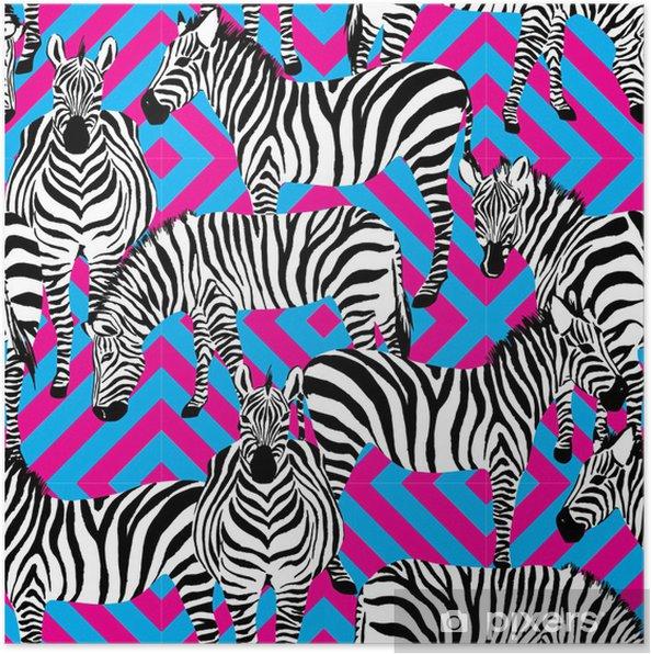 Poster Noir de zèbre et motif blanc, fond géométrique - Mammifères