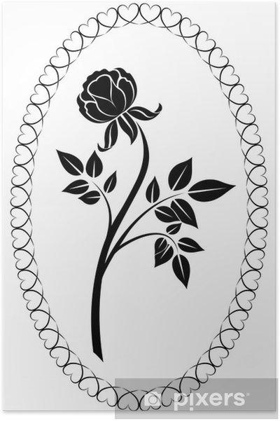 Poster Noir Et Blanc Dessin Rose Illustration Vectorielle Pixers