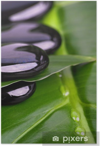 Poster Noirs galets et gouttes d'eau - Beauté et soins du corps