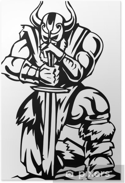 Nordic viking - black white vector illustration. Vinyl-ready. Poster - Art and Creation