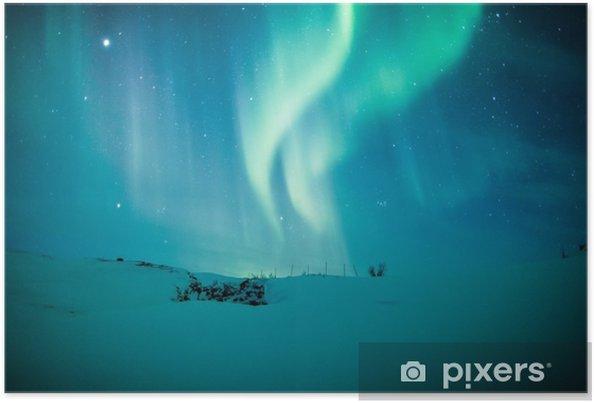 Poster Norrsken (Aurora borealis) över snö - Teman